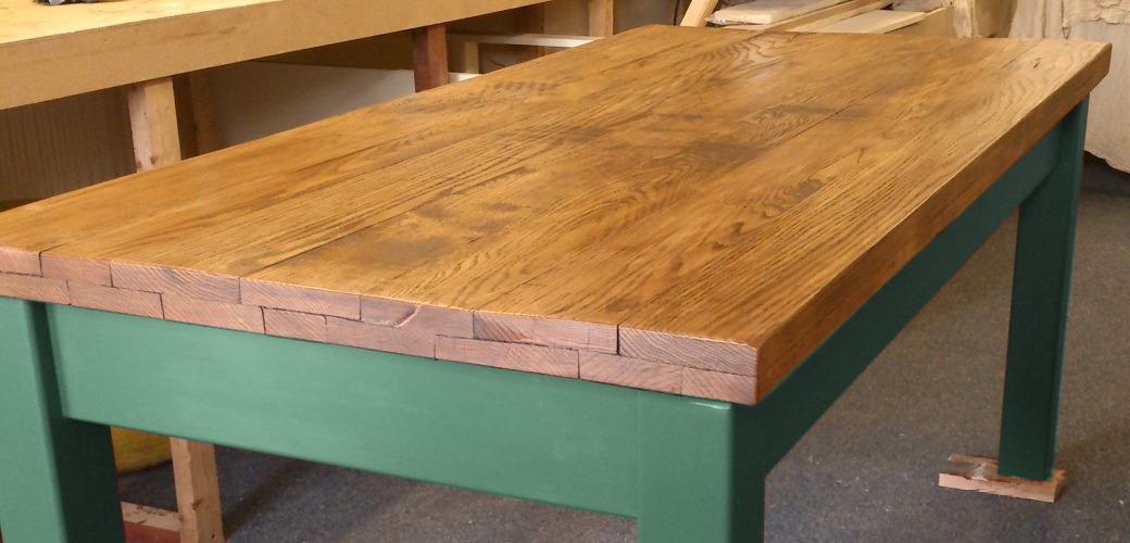 Oak Farmhouse Table In Green