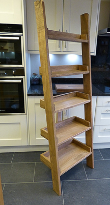 Solid oak ladder shelves